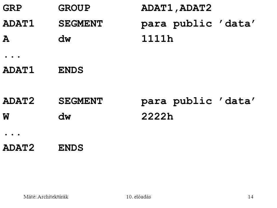 Máté: Architektúrák10. előadás14 GRPGROUPADAT1,ADAT2 ADAT1SEGMENTpara public 'data' Adw1111h...