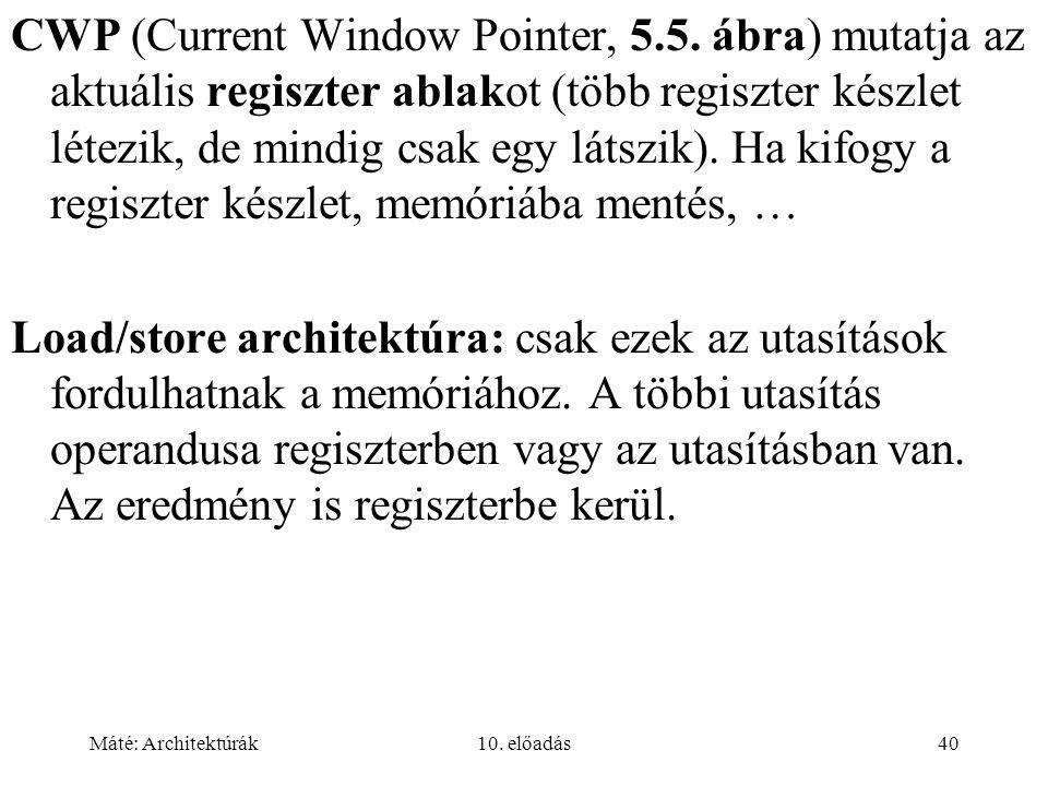 Máté: Architektúrák10. előadás40 CWP (Current Window Pointer, 5.5.