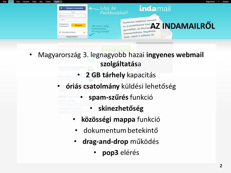 AZ INDAMAILRŐL Magyarország 3. legnagyobb hazai ingyenes webmail szolgáltatása 2 GB tárhely kapacitás óriás csatolmány küldési lehetőség spam-szűrés f