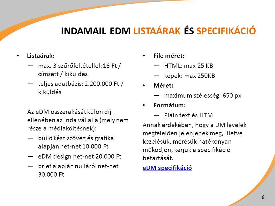 INDAMAIL EDM LISTAÁRAK ÉS SPECIFIKÁCIÓ Listaárak: ―max. 3 szűrőfeltétellel: 16 Ft / címzett / kiküldés ―teljes adatbázis: 2.200.000 Ft / kiküldés Az e