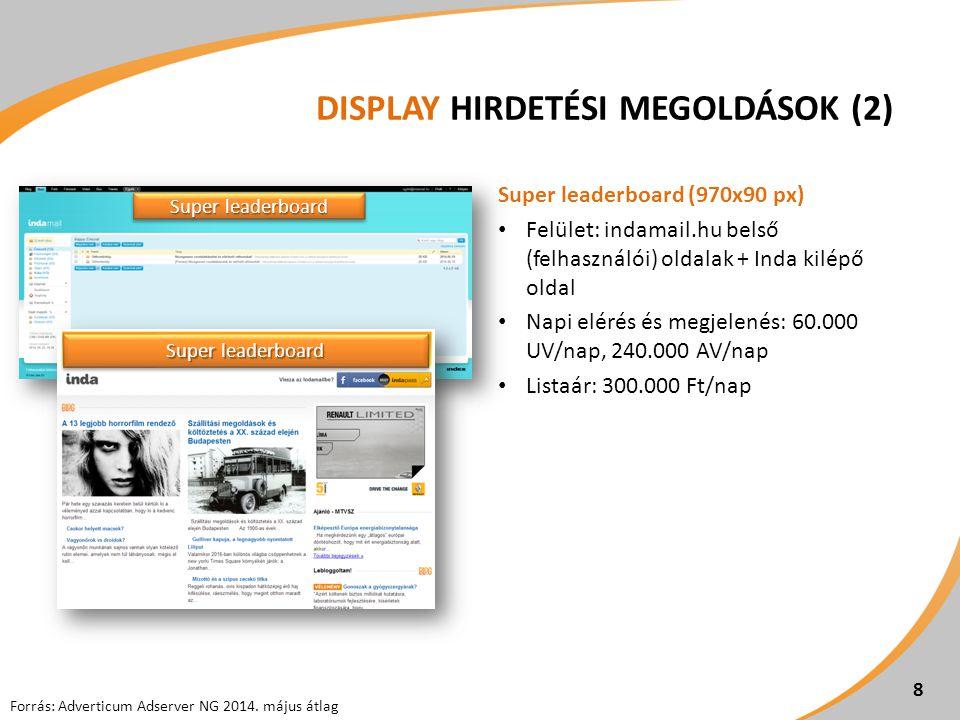 DISPLAY HIRDETÉSI MEGOLDÁSOK (2) Super leaderboard (970x90 px) Felület: indamail.hu belső (felhasználói) oldalak + Inda kilépő oldal Napi elérés és megjelenés: 60.000 UV/nap, 240.000 AV/nap Listaár: 300.000 Ft/nap 8 Super leaderboard Forrás: Adverticum Adserver NG 2014.