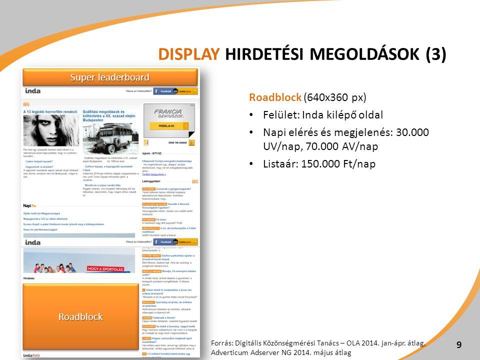 DISPLAY HIRDETÉSI MEGOLDÁSOK (3) Roadblock (640x360 px) Felület: Inda kilépő oldal Napi elérés és megjelenés: 30.000 UV/nap, 70.000 AV/nap Listaár: 15