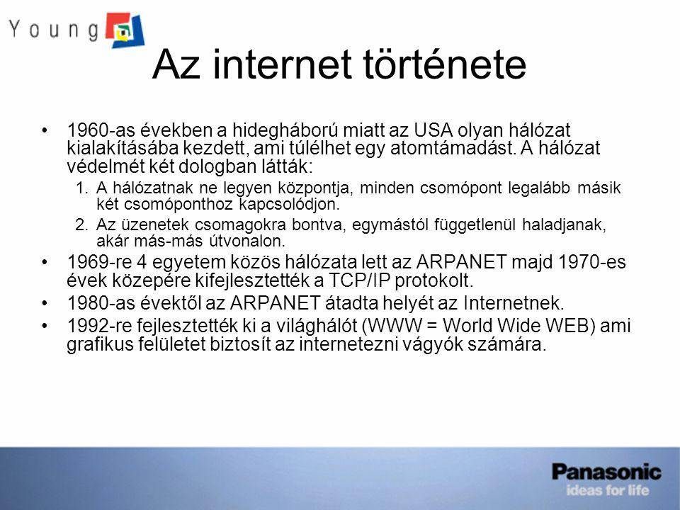 Az internet története 1960-as években a hidegháború miatt az USA olyan hálózat kialakításába kezdett, ami túlélhet egy atomtámadást.