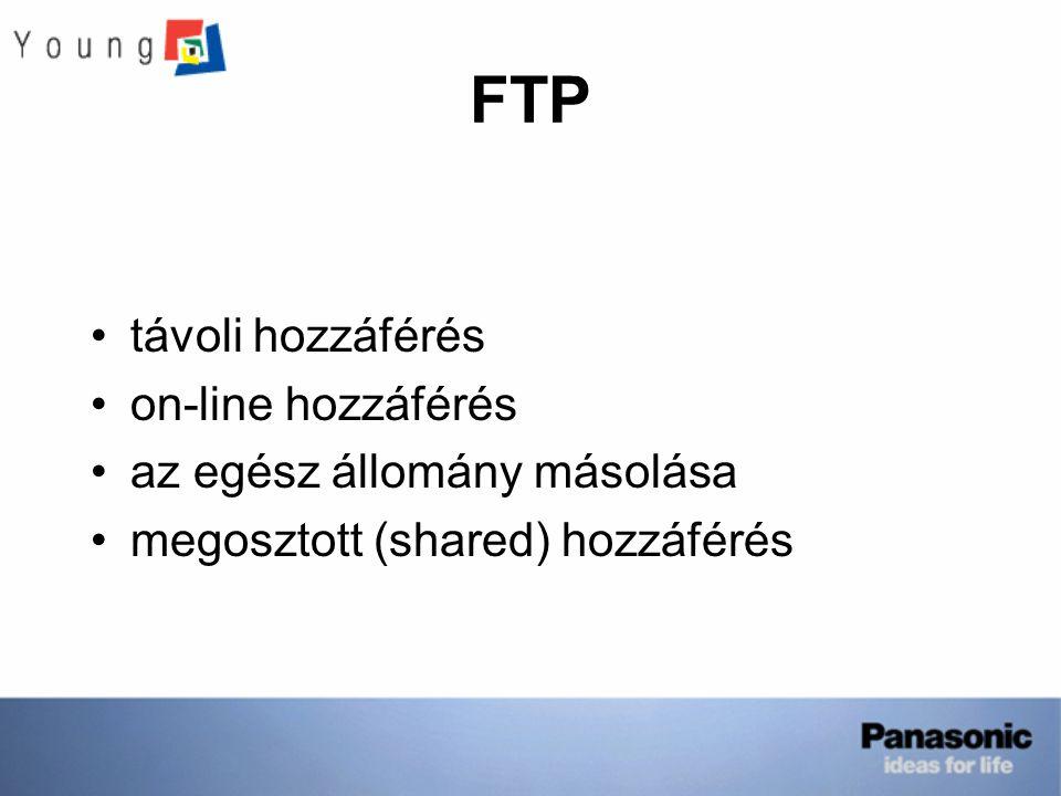 FTP távoli hozzáférés on-line hozzáférés az egész állomány másolása megosztott (shared) hozzáférés