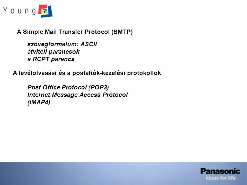 A Simple Mail Transfer Protocol (SMTP) szövegformátum: ASCII átviteli parancsok a RCPT parancs A levélolvasási és a postafiók-kezelési protokollok Pos