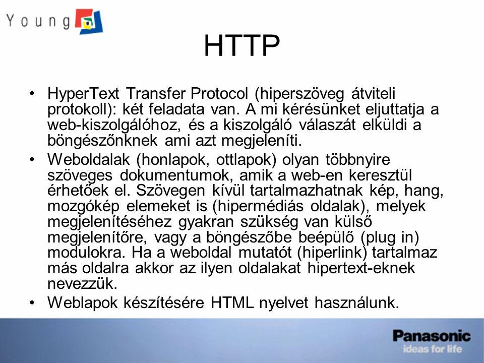 HTTP HyperText Transfer Protocol (hiperszöveg átviteli protokoll): két feladata van. A mi kérésünket eljuttatja a web-kiszolgálóhoz, és a kiszolgáló v