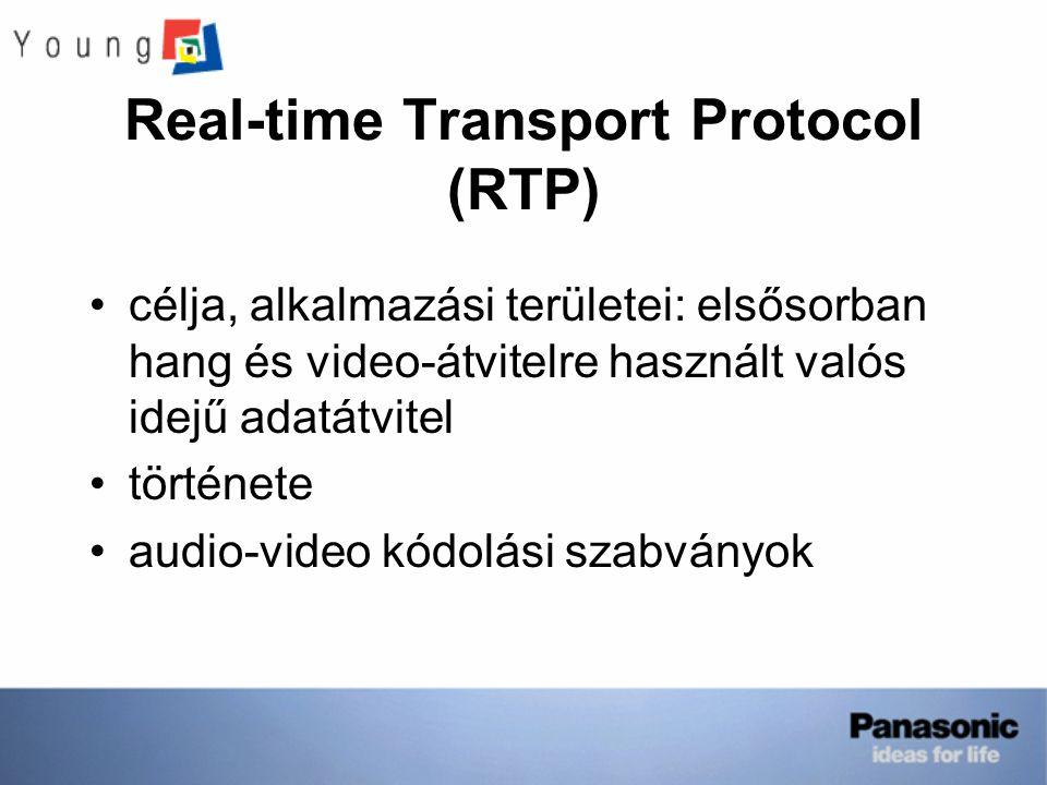 Real-time Transport Protocol (RTP) célja, alkalmazási területei: elsősorban hang és video-átvitelre használt valós idejű adatátvitel története audio-video kódolási szabványok