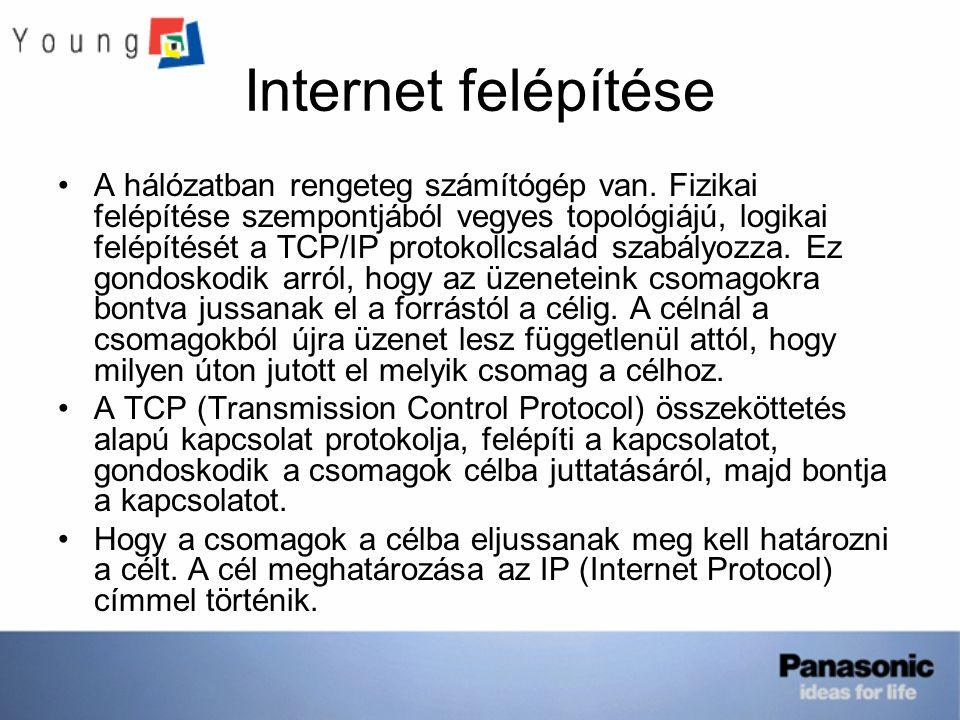 Internet felépítése A hálózatban rengeteg számítógép van. Fizikai felépítése szempontjából vegyes topológiájú, logikai felépítését a TCP/IP protokollc