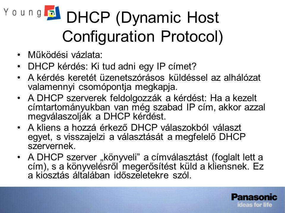 DHCP (Dynamic Host Configuration Protocol) Működési vázlata: DHCP kérdés: Ki tud adni egy IP címet? A kérdés keretét üzenetszórásos küldéssel az alhál