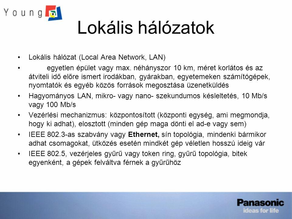 Lokális hálózatok Lokális hálózat (Local Area Network, LAN) egyetlen épület vagy max. néhányszor 10 km, méret korlátos és az átviteli idő előre ismert