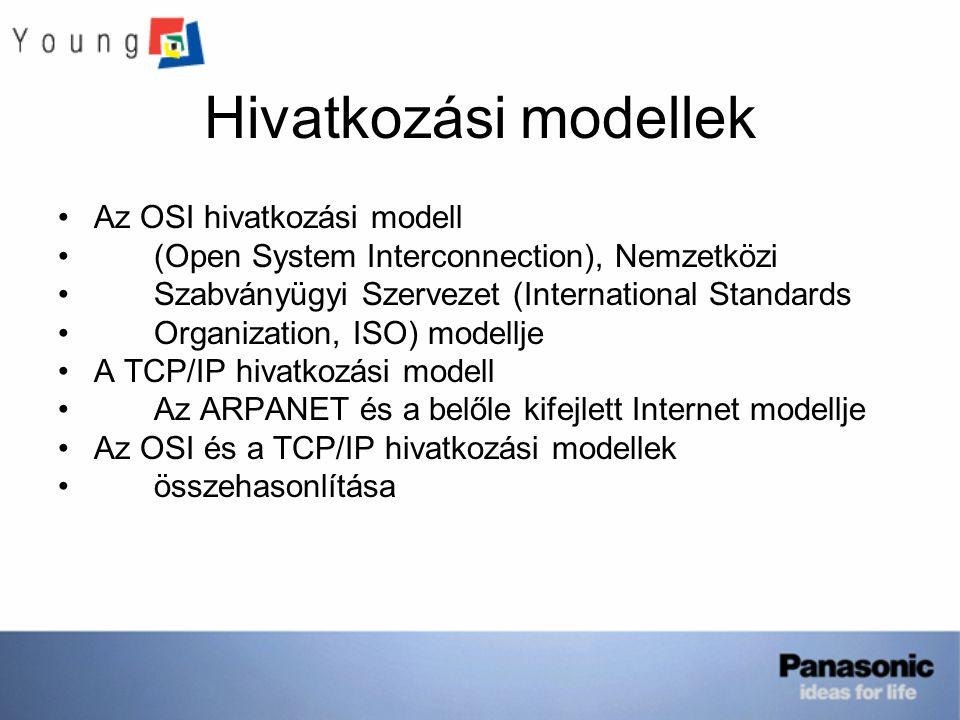 Hivatkozási modellek Az OSI hivatkozási modell (Open System Interconnection), Nemzetközi Szabványügyi Szervezet (International Standards Organization, ISO) modellje A TCP/IP hivatkozási modell Az ARPANET és a belőle kifejlett Internet modellje Az OSI és a TCP/IP hivatkozási modellek összehasonlítása