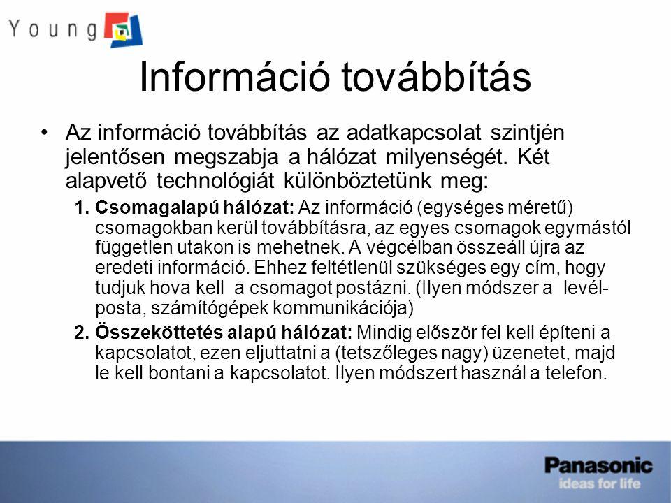 Információ továbbítás Az információ továbbítás az adatkapcsolat szintjén jelentősen megszabja a hálózat milyenségét. Két alapvető technológiát különbö