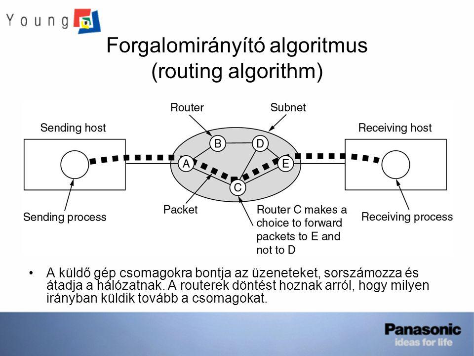 Forgalomirányító algoritmus (routing algorithm) A küldő gép csomagokra bontja az üzeneteket, sorszámozza és átadja a hálózatnak. A routerek döntést ho