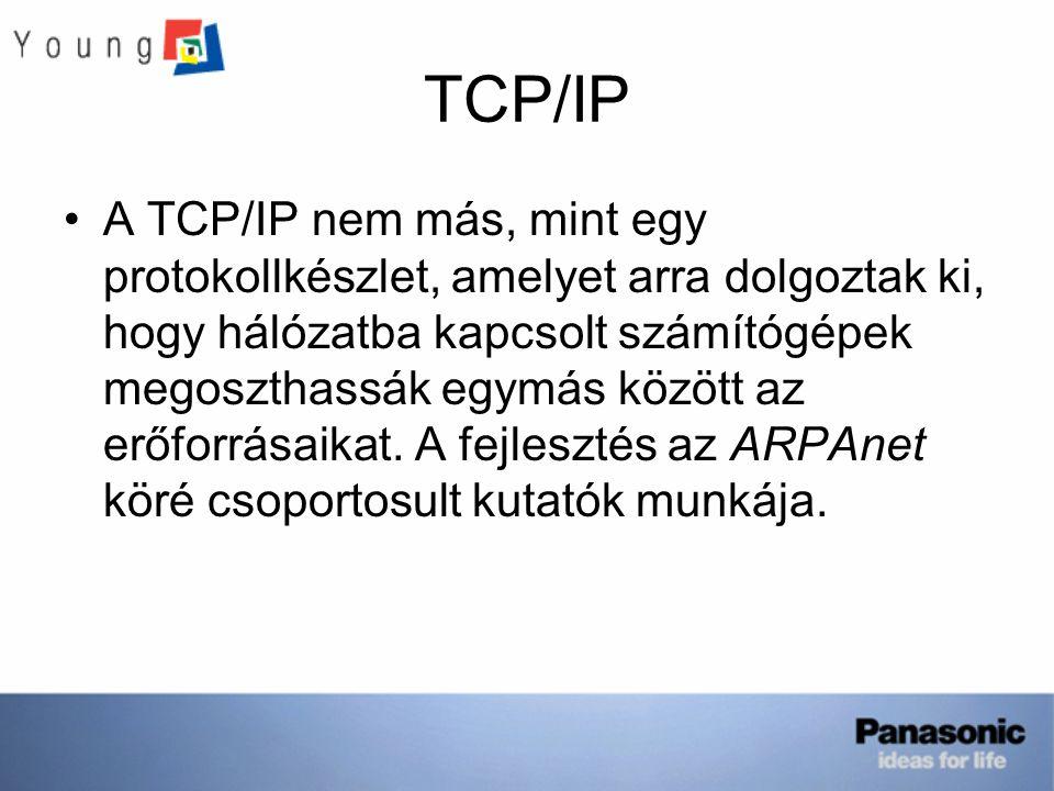TCP/IP A TCP/IP nem más, mint egy protokollkészlet, amelyet arra dolgoztak ki, hogy hálózatba kapcsolt számítógépek megoszthassák egymás között az erőforrásaikat.
