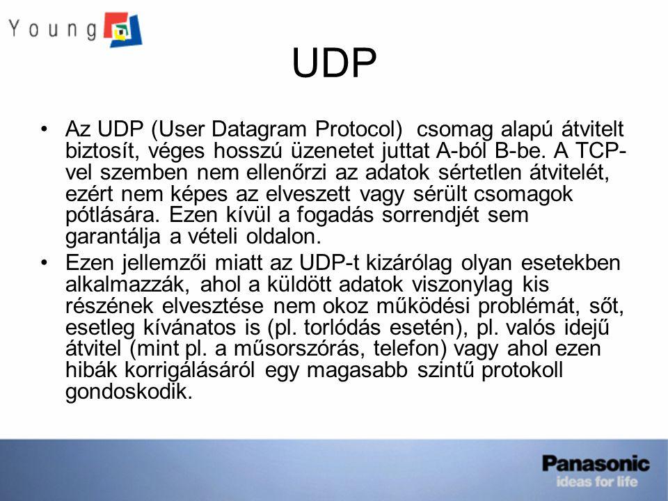 UDP Az UDP (User Datagram Protocol) csomag alapú átvitelt biztosít, véges hosszú üzenetet juttat A-ból B-be.