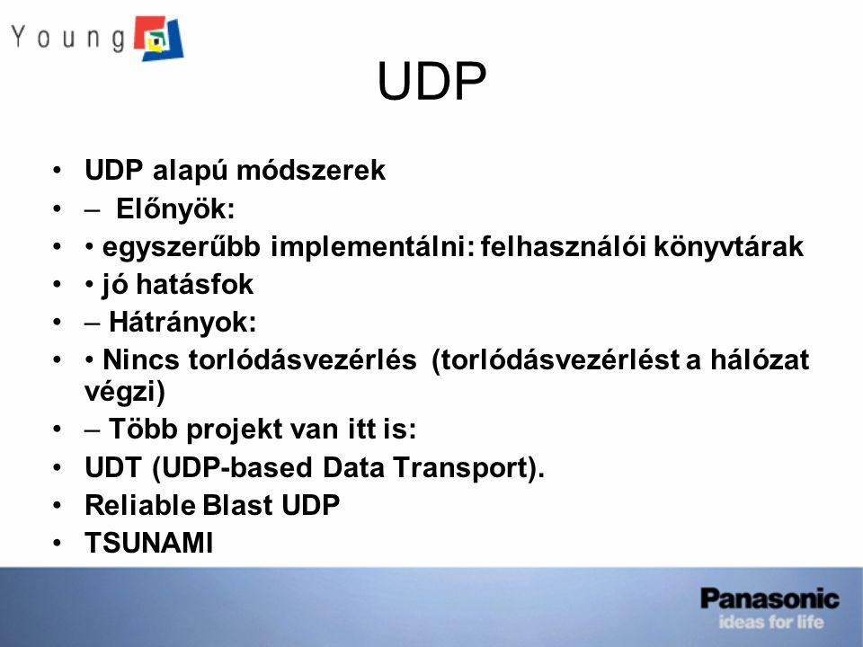 UDP UDP alapú módszerek – Előnyök: egyszerűbb implementálni: felhasználói könyvtárak jó hatásfok – Hátrányok: Nincs torlódásvezérlés (torlódásvezérlést a hálózat végzi) – Több projekt van itt is: UDT (UDP-based Data Transport).