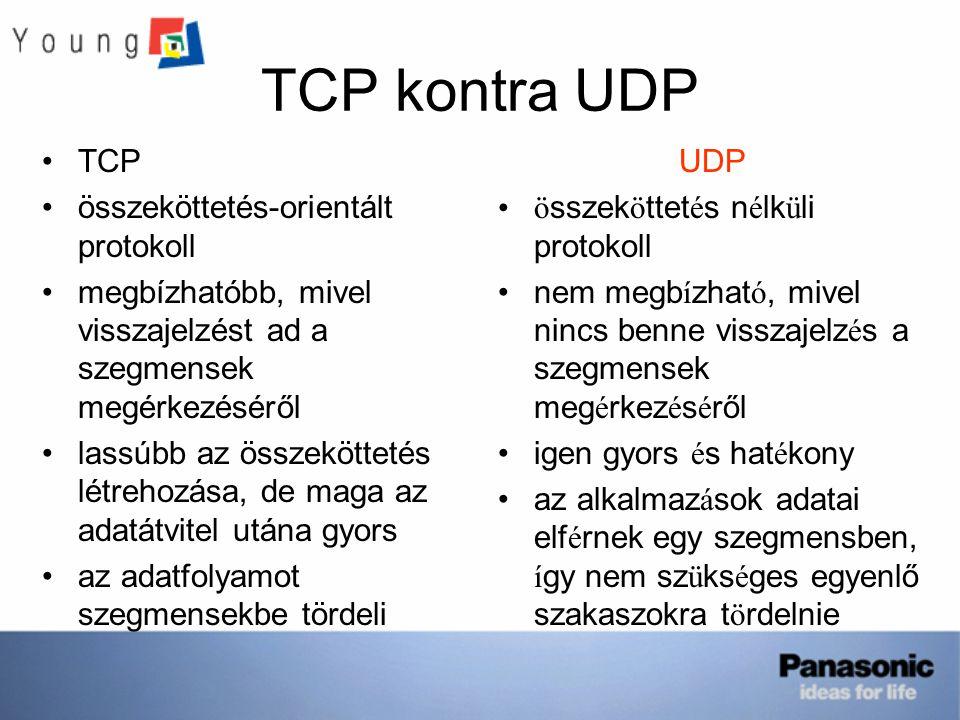 TCP kontra UDP TCP összeköttetés-orientált protokoll megbízhatóbb, mivel visszajelzést ad a szegmensek megérkezéséről lassúbb az összeköttetés létrehozása, de maga az adatátvitel utána gyors az adatfolyamot szegmensekbe tördeli UDP ö sszek ö ttet é s n é lk ü li protokoll nem megb í zhat ó, mivel nincs benne visszajelz é s a szegmensek meg é rkez é s é ről igen gyors é s hat é kony az alkalmaz á sok adatai elf é rnek egy szegmensben, í gy nem sz ü ks é ges egyenlő szakaszokra t ö rdelnie