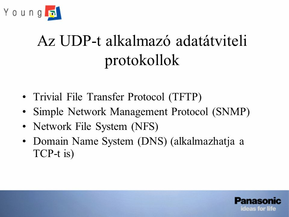 Az UDP-t alkalmazó adatátviteli protokollok Trivial File Transfer Protocol (TFTP) Simple Network Management Protocol (SNMP) Network File System (NFS) Domain Name System (DNS) (alkalmazhatja a TCP-t is)