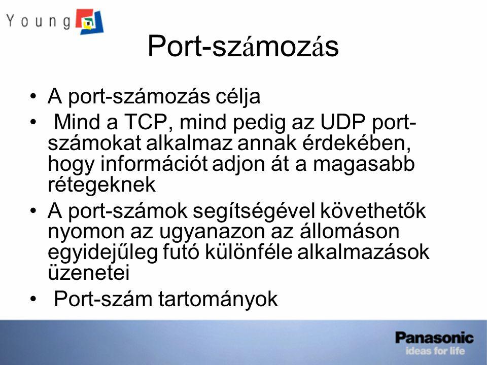 Port-sz á moz á s A port-számozás célja Mind a TCP, mind pedig az UDP port- számokat alkalmaz annak érdekében, hogy információt adjon át a magasabb rétegeknek A port-számok segítségével követhetők nyomon az ugyanazon az állomáson egyidejűleg futó különféle alkalmazások üzenetei Port-szám tartományok