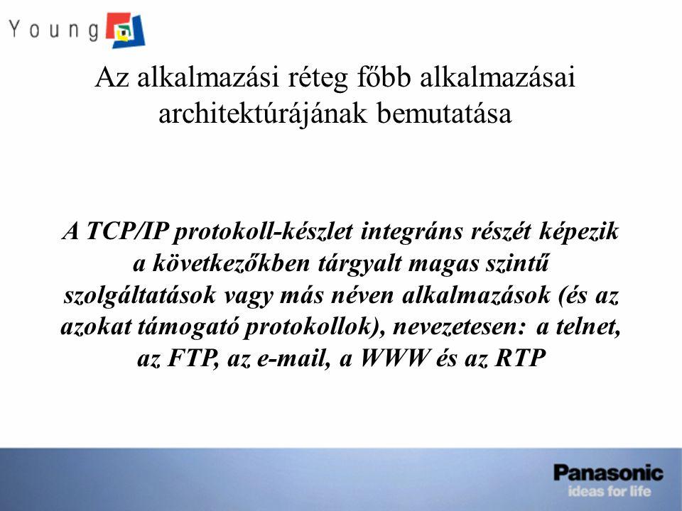 Az alkalmazási réteg főbb alkalmazásai architektúrájának bemutatása A TCP/IP protokoll-készlet integráns részét képezik a következőkben tárgyalt magas