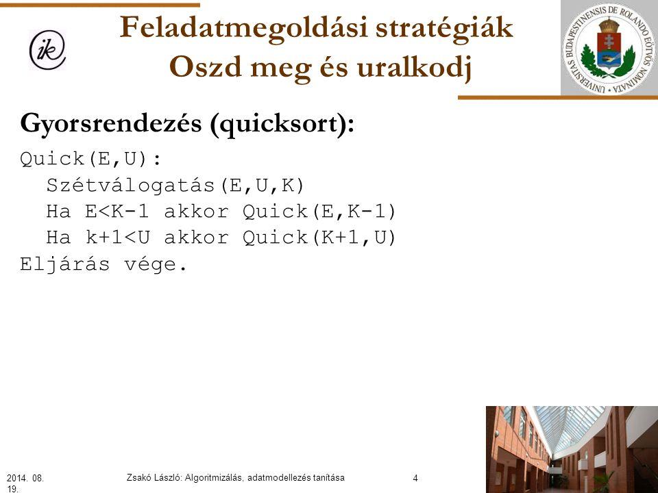 Feladatmegoldási stratégiák Oszd meg és uralkodj Gyorsrendezés (quicksort): Quick(E,U): Szétválogatás(E,U,K) Ha E<K-1 akkor Quick(E,K-1) Ha k+1<U akkor Quick(K+1,U) Eljárás vége.