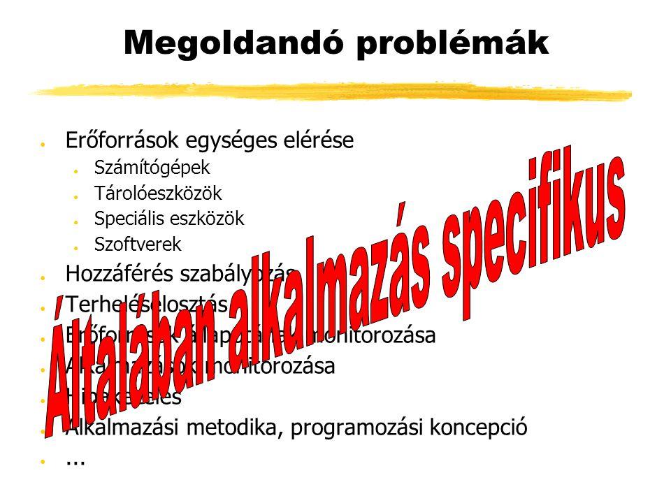 Megoldandó problémák ● Erőforrások egységes elérése ● Számítógépek ● Tárolóeszközök ● Speciális eszközök ● Szoftverek ● Hozzáférés szabályozás ● Terheléselosztás ● Erőforrások állapotának monitorozása ● Alkalmazások monitorozása ● Hibakezelés ● Alkalmazási metodika, programozási koncepció ●...