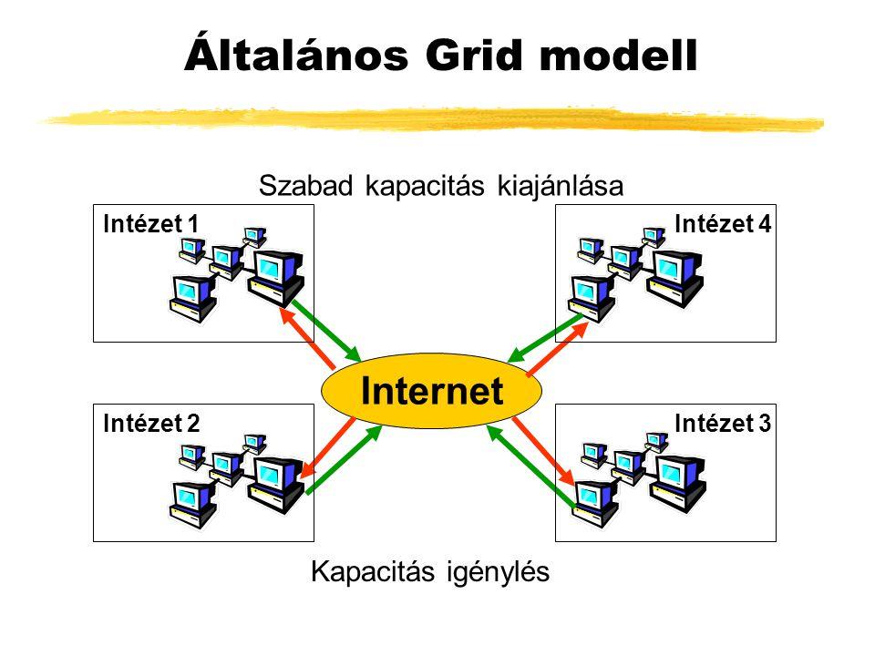 Általános Grid modell Internet Szabad kapacitás kiajánlása Kapacitás igénylés Intézet 1 Intézet 2 Intézet 4 Intézet 3