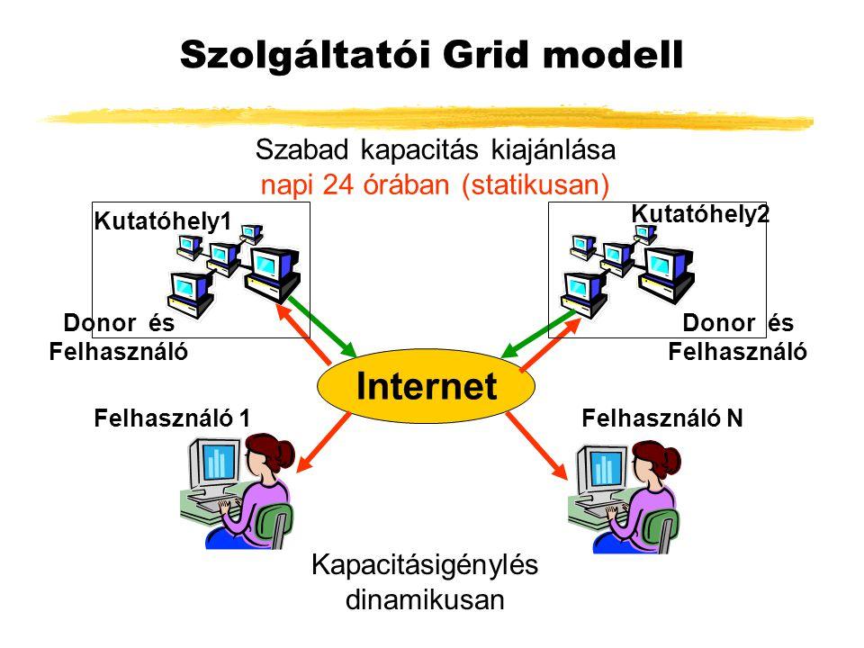 Szolgáltatói Grid modell Internet Szabad kapacitás kiajánlása napi 24 órában (statikusan) Kapacitásigénylés dinamikusan Kutatóhely1 Felhasználó 1 Kutatóhely2 Felhasználó N Donor és Felhasználó