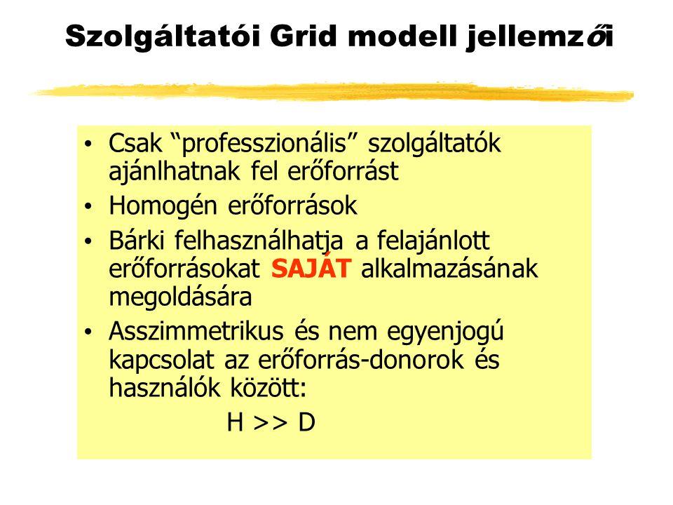 Szolgáltatói Grid modell jellemzői Csak professzionális szolgáltatók ajánlhatnak fel erőforrást Homogén erőforrások Bárki felhasználhatja a felajánlott erőforrásokat SAJÁT alkalmazásának megoldására Asszimmetrikus és nem egyenjogú kapcsolat az erőforrás-donorok és használók között: H >> D
