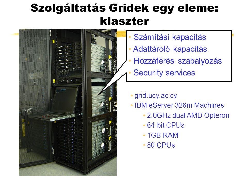 Szolgáltatás Gridek egy eleme: klaszter Számítási kapacitás Adattároló kapacitás Hozzáférés szabályozás Security services grid.ucy.ac.cy IBM eServer 326m Machines 2.0GHz dual AMD Opteron 64-bit CPUs 1GB RAM 80 CPUs
