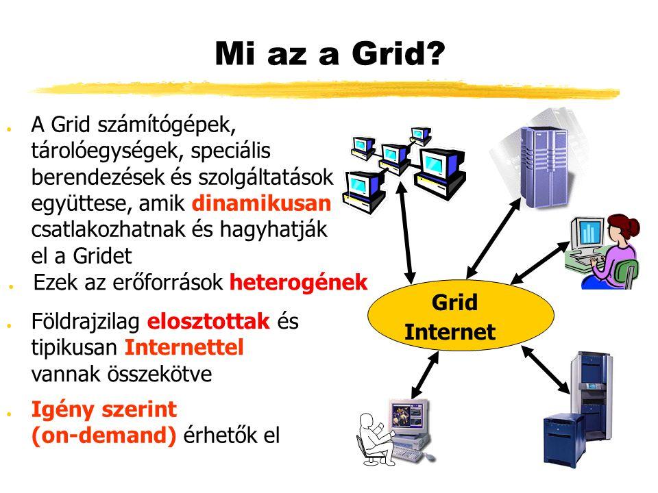 Mi az a Grid? ● Ezek az erőforrások heterogének Grid ● A Grid számítógépek, tárolóegységek, speciális berendezések és szolgáltatások együttese, amik d