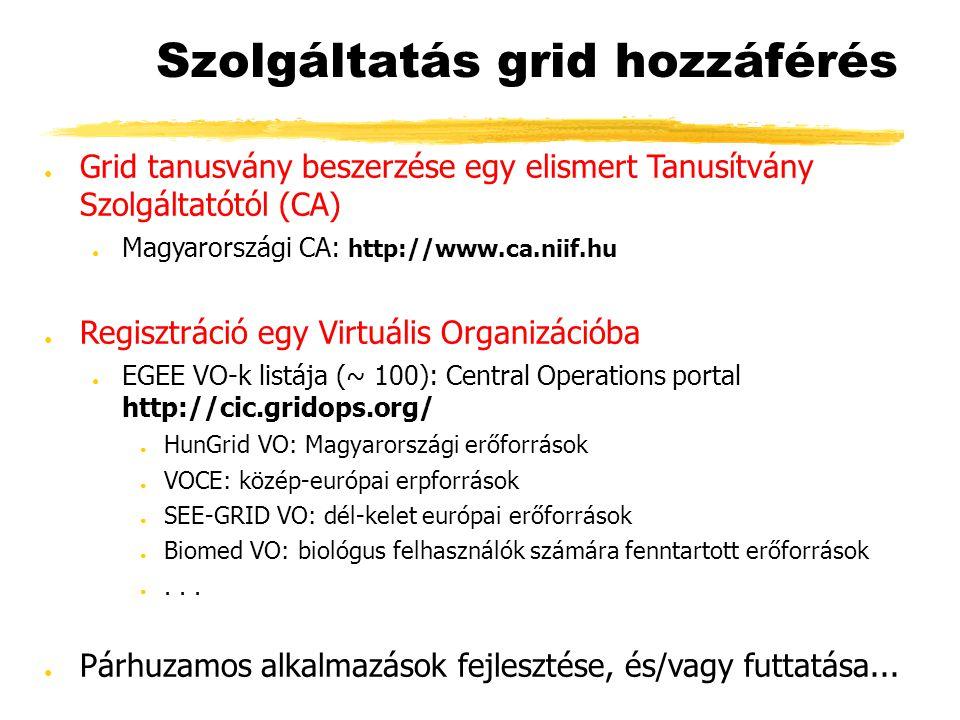 Szolgáltatás grid hozzáférés ● Grid tanusvány beszerzése egy elismert Tanusítvány Szolgáltatótól (CA) ● Magyarországi CA: http://www.ca.niif.hu ● Regisztráció egy Virtuális Organizációba ● EGEE VO-k listája (~ 100): Central Operations portal http://cic.gridops.org/ ● HunGrid VO: Magyarországi erőforrások ● VOCE: közép-európai erpforrások ● SEE-GRID VO: dél-kelet európai erőforrások ● Biomed VO: biológus felhasználók számára fenntartott erőforrások ●...