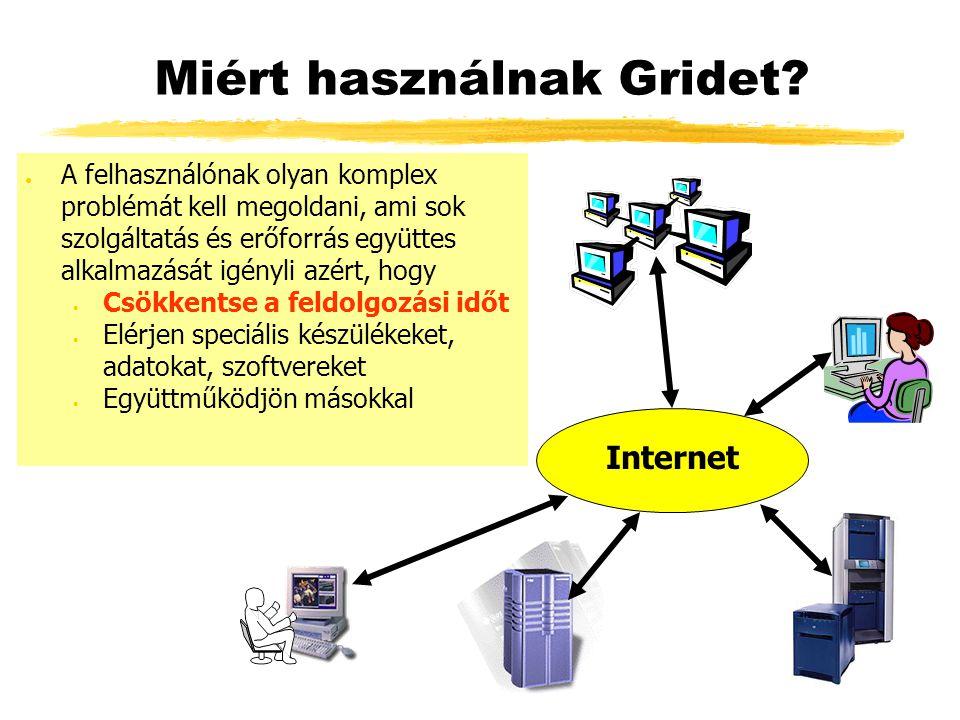 Miért használnak Gridet? ● A felhasználónak olyan komplex problémát kell megoldani, ami sok szolgáltatás és erőforrás együttes alkalmazását igényli az