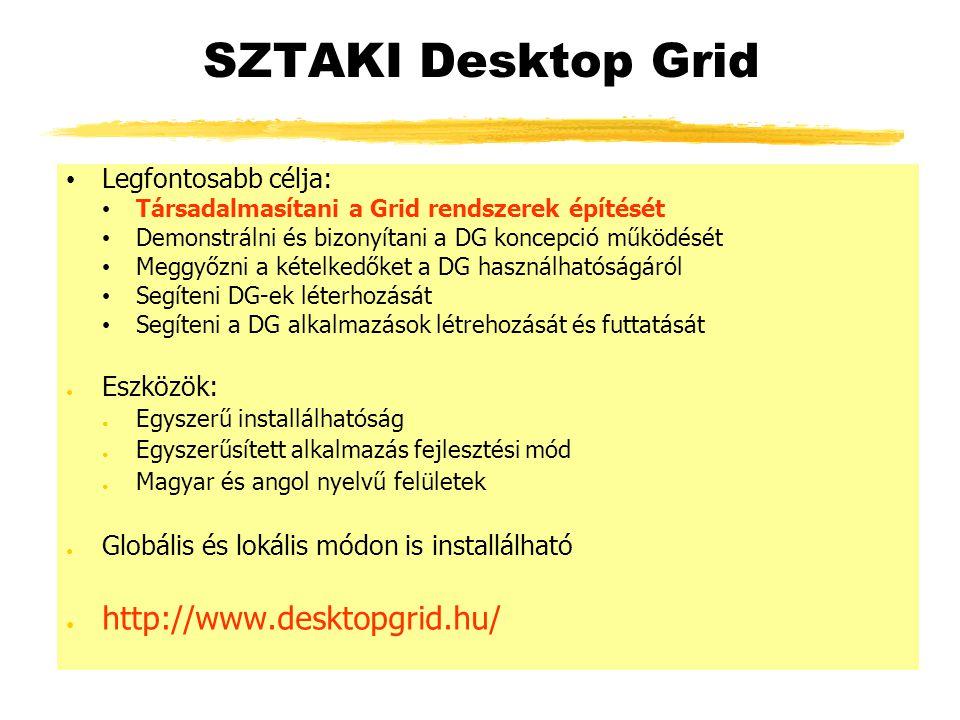 SZTAKI Desktop Grid Legfontosabb célja: Társadalmasítani a Grid rendszerek építését Demonstrálni és bizonyítani a DG koncepció működését Meggyőzni a kételkedőket a DG használhatóságáról Segíteni DG-ek léterhozását Segíteni a DG alkalmazások létrehozását és futtatását ● Eszközök: ● Egyszerű installálhatóság ● Egyszerűsített alkalmazás fejlesztési mód ● Magyar és angol nyelvű felületek ● Globális és lokális módon is installálható ● http://www.desktopgrid.hu/