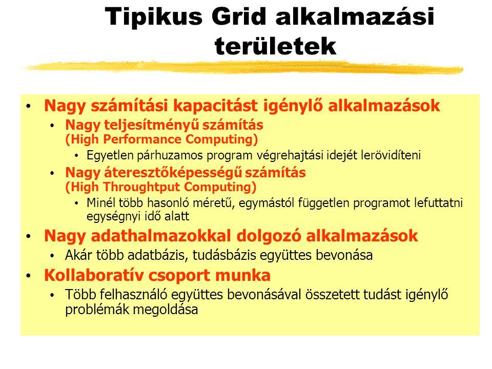 Tipikus Grid alkalmazási területek Nagy számítási kapacitást igénylő alkalmazások Nagy teljesítményű számítás (High Performance Computing) Egyetlen pá