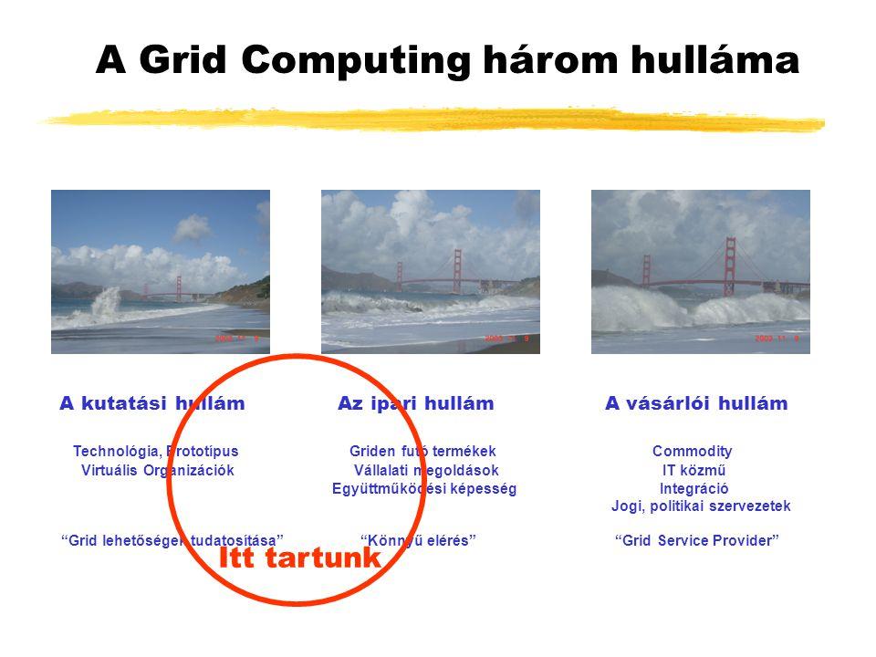 A Grid Computing három hulláma A kutatási hullám Az ipari hullám A vásárlói hullám Technológia, Prototípus Griden futó termékek Commodity Virtuális Organizációk Vállalati megoldások IT közmű Együttműködési képesség Integráció Jogi, politikai szervezetek Grid lehetőségek tudatosítása Könnyű elérés Grid Service Provider Itt tartunk
