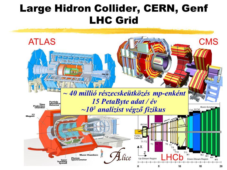 Large Hidron Collider, CERN, Genf LHC Grid ATLASCMS LHCb ~ 40 millió részecskeütközés mp-enként 15 PetaByte adat / év ~10 3 analízist végző fizikus