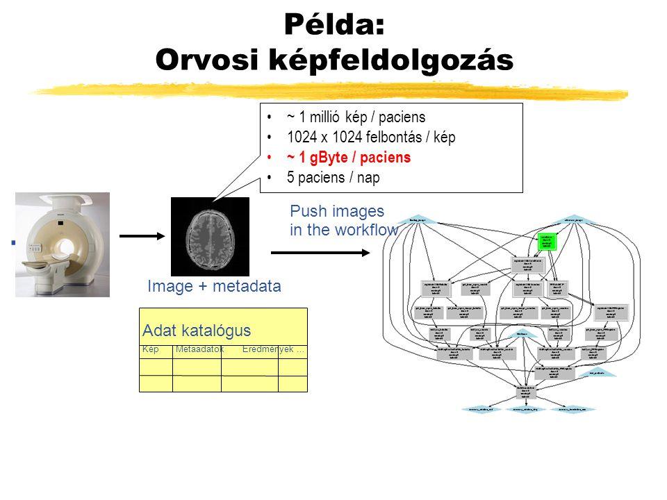 Példa: Orvosi képfeldolgozás... Push images in the workflow Image + metadata Adat katalógus KépMetaadatokEredmények... ~ 1 millió kép / paciens 1024 x