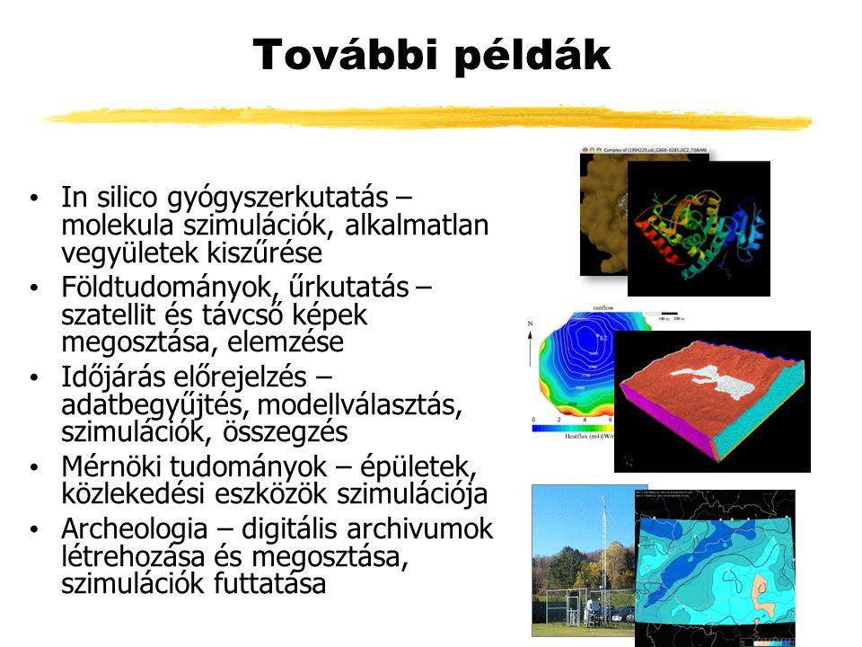 További példák In silico gyógyszerkutatás – molekula szimulációk, alkalmatlan vegyületek kiszűrése Földtudományok, űrkutatás – szatellit és távcső képek megosztása, elemzése Időjárás előrejelzés – adatbegyűjtés, modellválasztás, szimulációk, összegzés Mérnöki tudományok – épületek, közlekedési eszközök szimulációja Archeologia – digitális archivumok létrehozása és megosztása, szimulációk futtatása