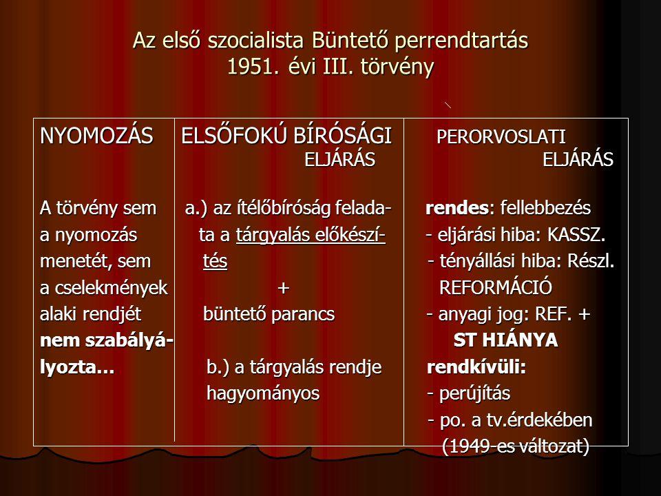 Az első szocialista Büntető perrendtartás 1951. évi III.