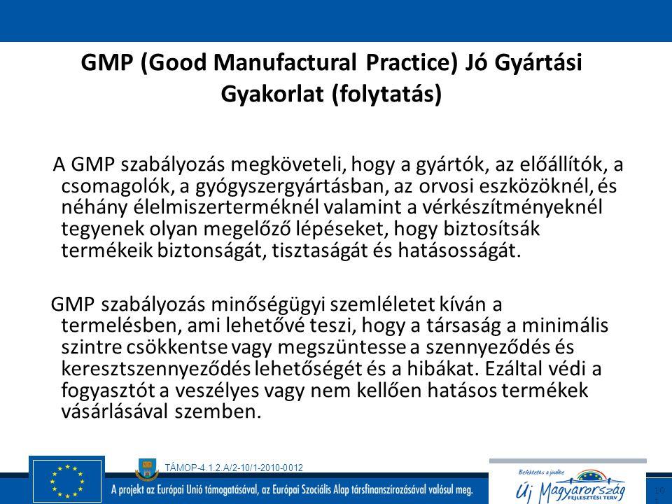 TÁMOP-4.1.2.A/2-10/1-2010-0012 10 0 GMP (Good Manufactural Practice) Jó Gyártási Gyakorlat A Jó Gyártási Gyakorlat követelményrendszer (azokat a követ