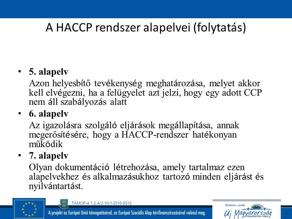 TÁMOP-4.1.2.A/2-10/1-2010-0012 10 6 A HACCP rendszer alapelvei 1. alapelv A vesz é lyelemz é s v é gz é se 2. alapelv A Kritikus Szab á lyoz á si Pont