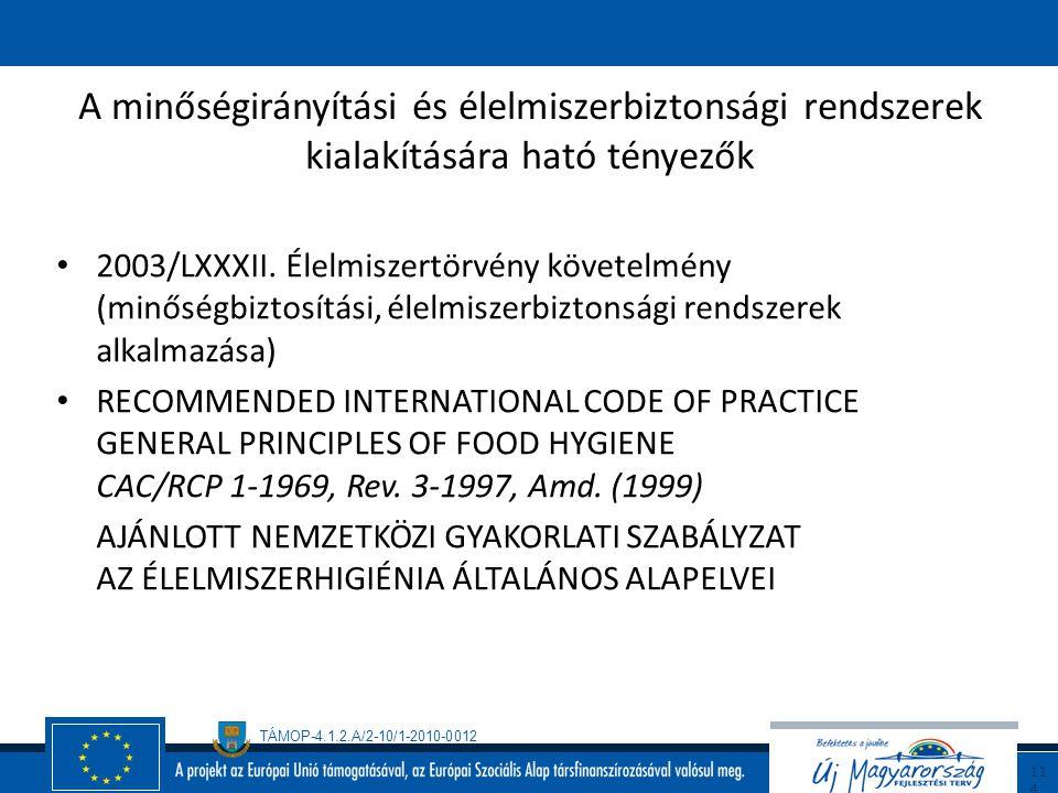 TÁMOP-4.1.2.A/2-10/1-2010-0012 11 3 A minőségirányítási és élelmiszerbiztonsági irányítási rendszerek áttekintése A minőségirányítás ISO 9001:2000 Éle