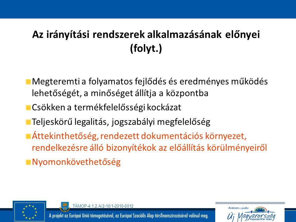 TÁMOP-4.1.2.A/2-10/1-2010-0012 11 6 Az irányítási rendszerek alkalmazásának előnyei Független szervezetek általi igazolás, tanúsítás, nemzetközi elism