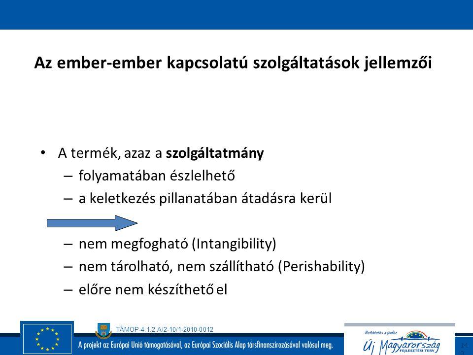 TÁMOP-4.1.2.A/2-10/1-2010-0012 13 9 Az ember-ember kapcsolatú szolgáltatások jellemzői A termelési (szolgáltatást nyújtó) és a fogyasztási (szolgáltat