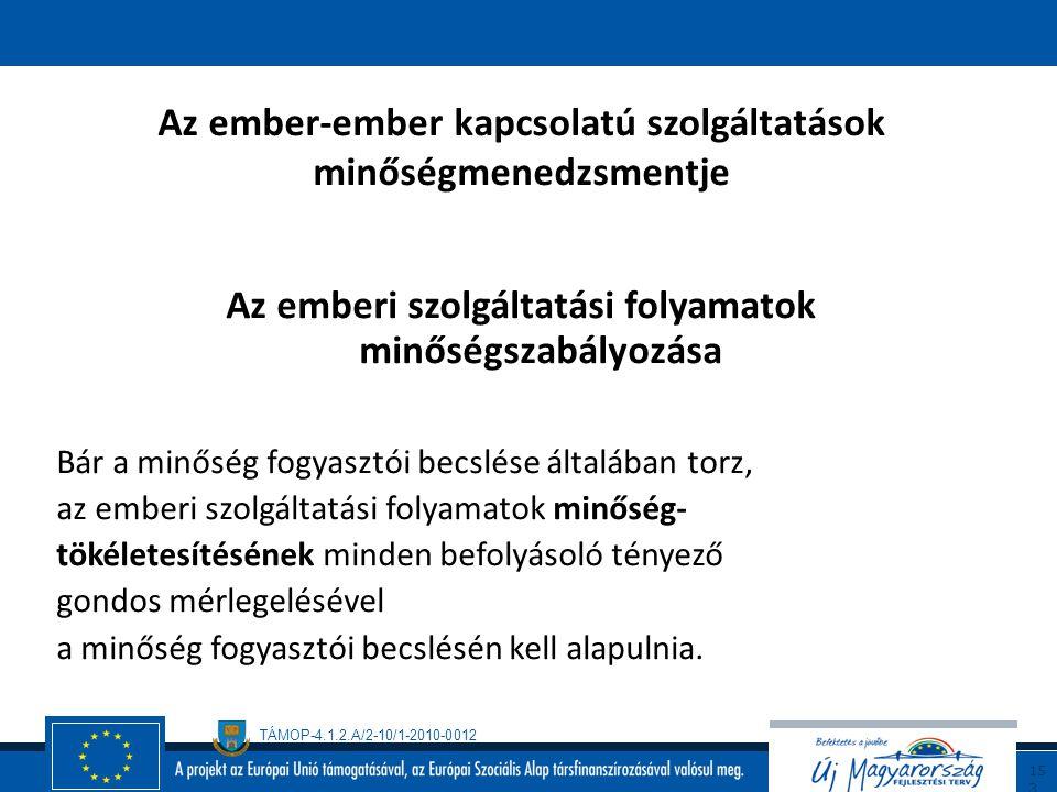 TÁMOP-4.1.2.A/2-10/1-2010-0012 15 2 Az ember-ember kapcsolatú szolgáltatások minőségmenedzsmentje Az emberi szolgáltatási folyamatok minőségének becsl