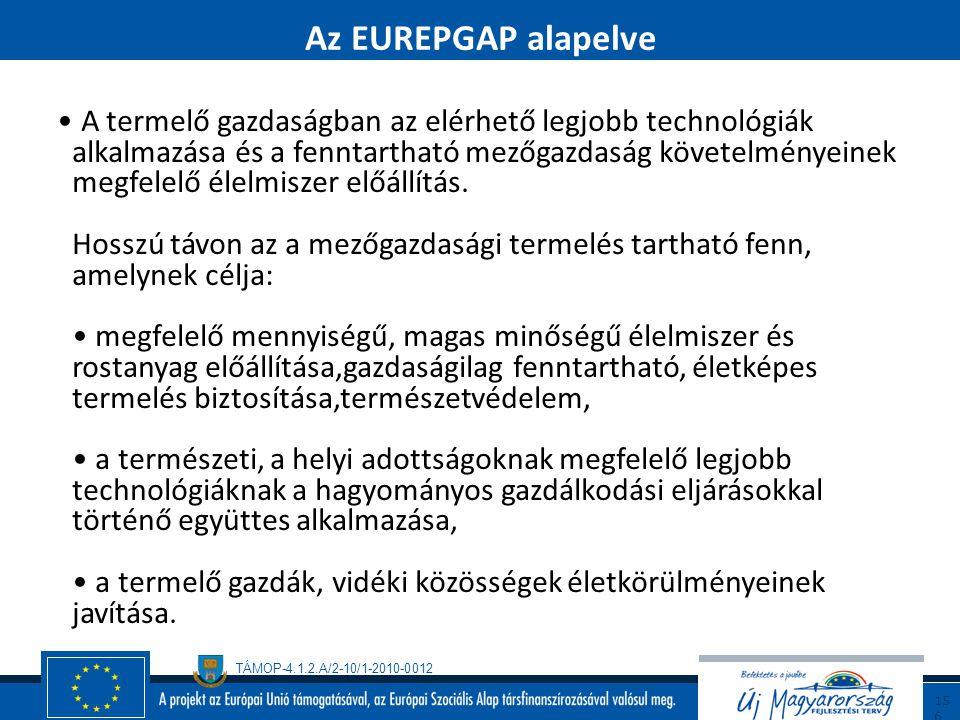 """TÁMOP-4.1.2.A/2-10/1-2010-0012 15 5 EUREPGAP Definíció : - EUREPGAP """" Globális partnerség a biztonságos és fenntartható mezőgazdaságért"""" - A globális"""