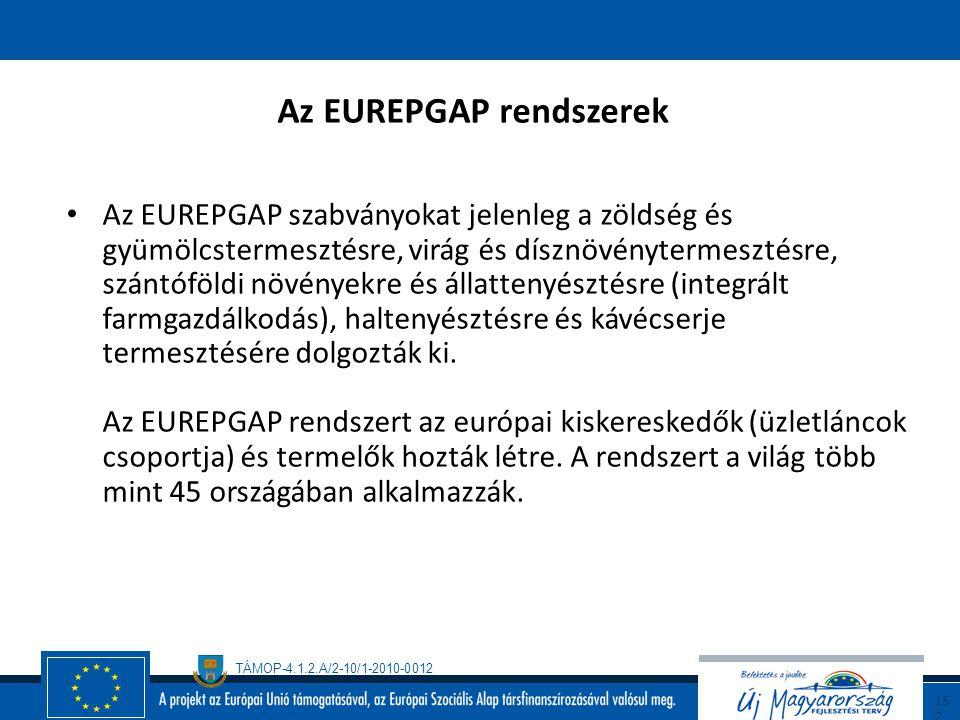 TÁMOP-4.1.2.A/2-10/1-2010-0012 15 6 Az EUREPGAP alapelve A termelő gazdaságban az elérhető legjobb technológiák alkalmazása és a fenntartható mezőgazd