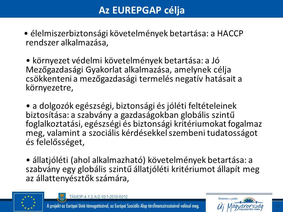 TÁMOP-4.1.2.A/2-10/1-2010-0012 15 8 Az EUREPGAP feladata válaszolni a fogyasztók élelmiszerbiztonsági, állatjóléti, környezetvédelmi és a dolgozók egé