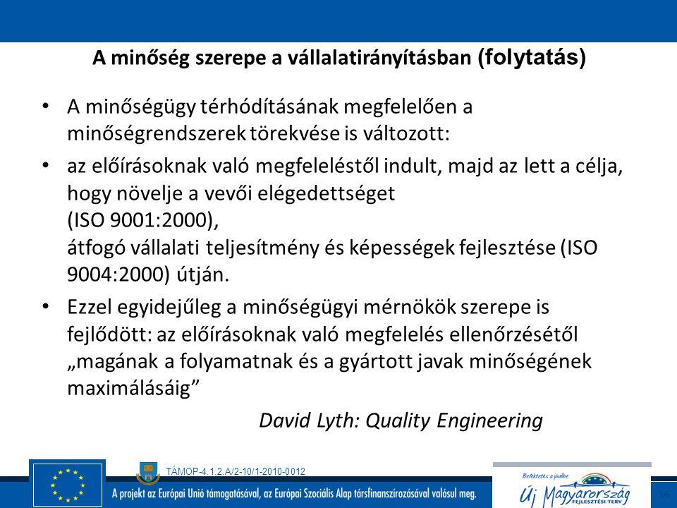 TÁMOP-4.1.2.A/2-10/1-2010-0012 15 A minőség szerepe a vállalatirányításban A minőségügy folyamatszemléletével összefüggésben egy vállalkozás úgy jelle